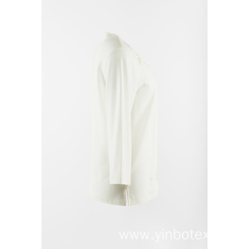 White knitting with emb 3/4 sleeve T shirt
